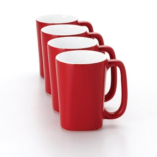 Rachael Ray Red Round and Square 14-Ounce Mugs (Set of 4)