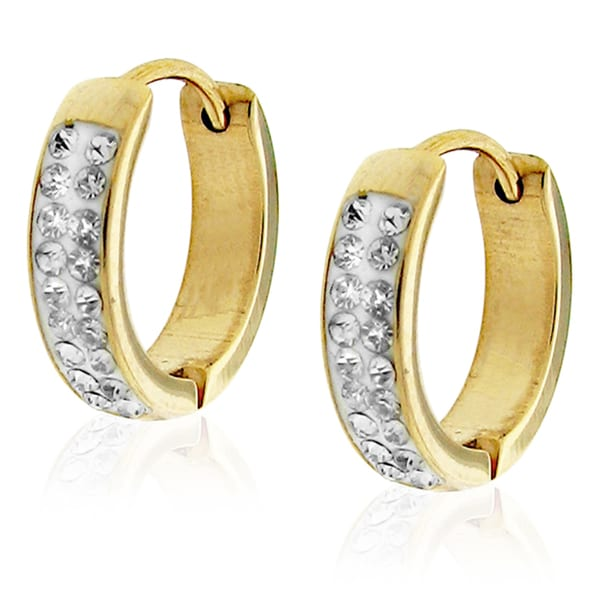 Goldtone Clear Crystal Hoop Earrings