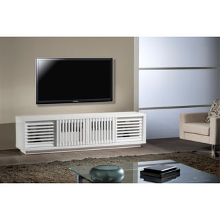 Furnitech Contemporary High Gloss White Lacquer TV Stand Media Console