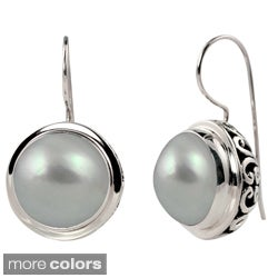 Sterling Silver Mabe Pearl Balinese-style Earrings (14-15 mm)