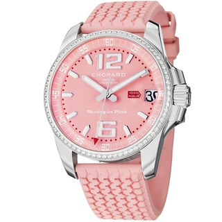 Chopard Women's 'Miglia' Pink Diamond Dial Rubber Strap Watch