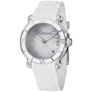 Chopard Women's 'Happy Sport Round' Silver Diamond Dial Strap Watch
