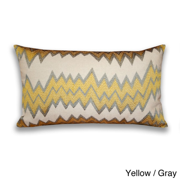 Lopez Zig Zag Embroidered 12x20-inch Throw Pillow