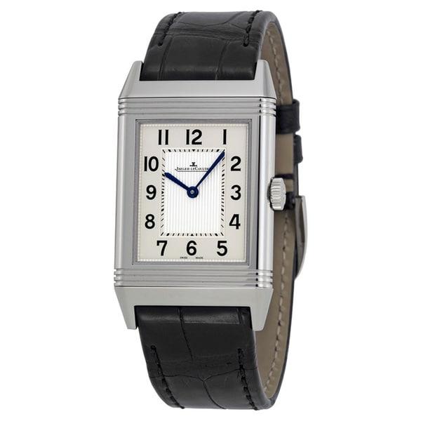 Jaeger-LeCoultre Men's 'Revreso GR' Silver Dial Leather Strap Watch