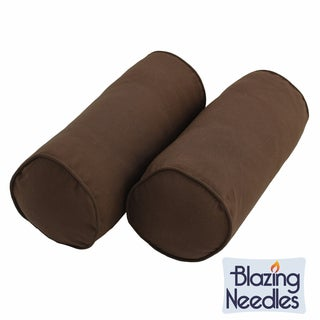 Blazing Needles 20 x 8 Twill Bolster Pillows with Cording (Set of 2)
