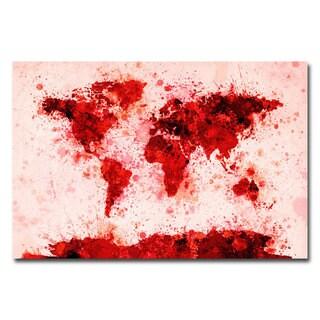 Michael Tompsett 'World Map - Red Paint Splashes' Canvas Art