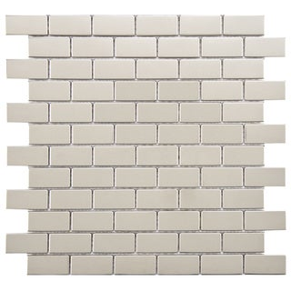 SomerTile Anvil 11.75x11.75-inch Standard Subway Mirrored Stainless Steel Over Porcelain Mosaic Wall Tile (Pack of 10)
