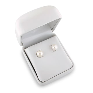 M by Miadora Silvertone White Pearl Stud Earrings (7-8 mm)