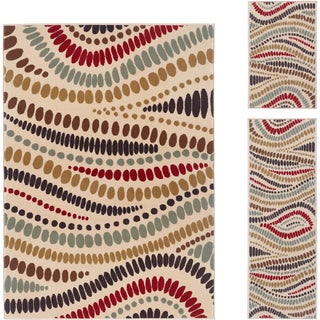 Lagoon Beige Contemporary Three-Piece Polypropylene Area Rug Set