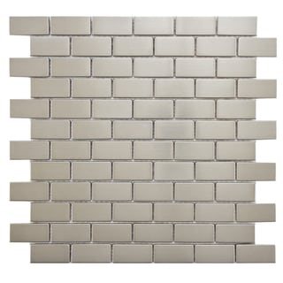SomerTile Anvil 11.75x11.75-in Standard Subway Stainless Steel Over Porcelain Mosaic Wall Tile (Pack of 10)