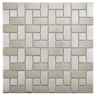 SomerTile Anvil 11.75x11.75-in Spiral Stainless Steel Over Porcelain Mosaic Wall Tile (Pack of 10)