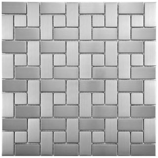 SomerTile 11.75x11.75-inch Anvil Spiral Stainless Steel Over Porcelain Mosaic Wall Tile (Case of 10)