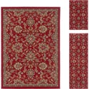 Lagoon 3-piece Red Transitional Area Rug Set