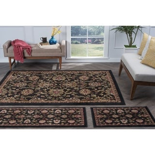 Lagoon 3-piece Charcoal Transitional Area Rug Set