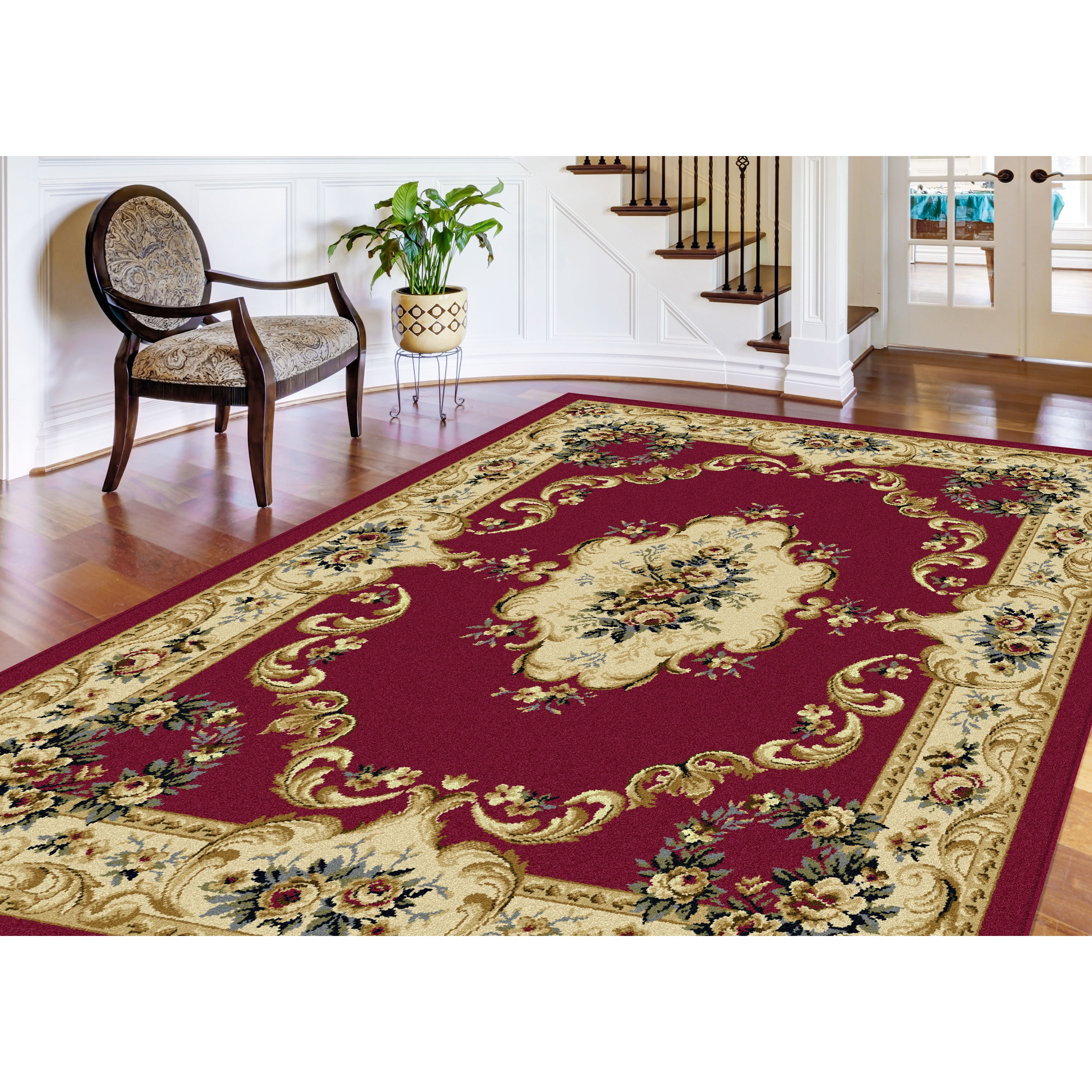 Lagoon 3-piece Red Traditional Area Rug Set