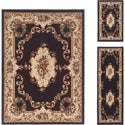 Lagoon 3-piece Charcoal Traditional Area Rug Set