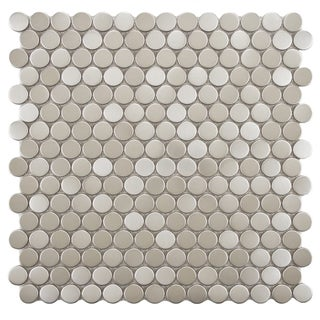 SomerTile Anvil 11.75x11.75-in Penny Stainless Steel Over Porcelain Mosaic Wall Tile (Pack of 10)