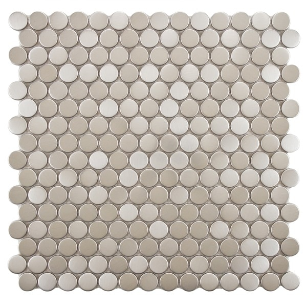 SomerTile 11.75 x 11.75-inch Penny Stainless Steel Over Porcelain Mosaic Wall Tile (Case of 10)
