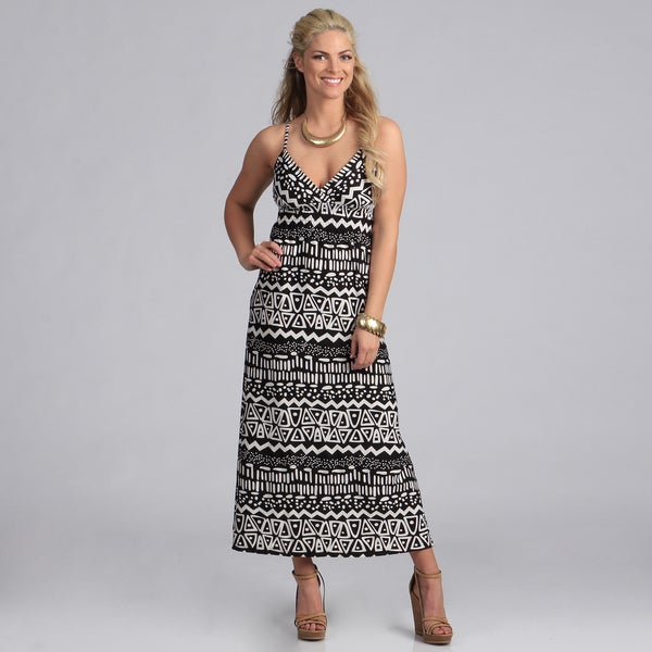 She's Cool Black and White Tribal Print Maxi Dress