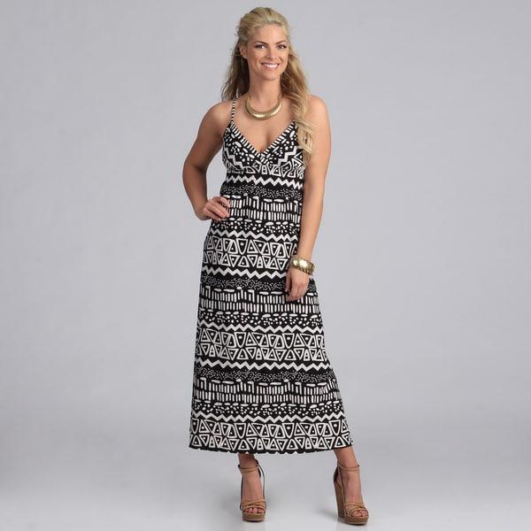 She's Cool Black and White Tribal Print Maxi Dress