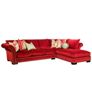 Venice 2-piece Red Nail Head Fabric Oversized Sectional
