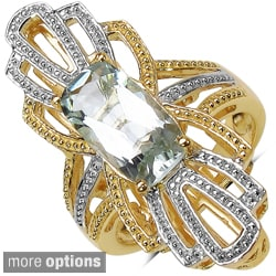 Marcel Drucker High-Polish Gold-over-Silver Gemstone and Diamond Accent Ring