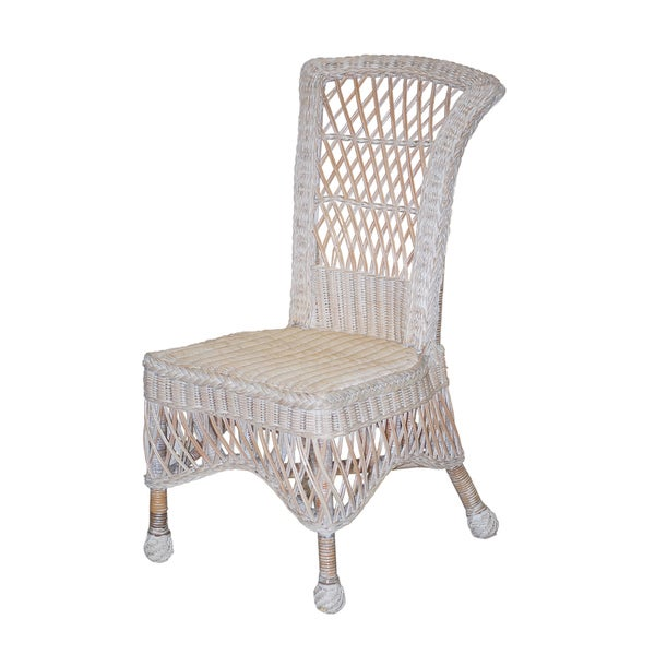 39 lyla 39 white armless wicker chairs set of 2 free shipping today overstock com 15257182