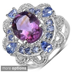 Sterling Silver Amethyst/ Blue Topaz and Tanzanite Ring