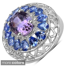 Sterling Silver Amethyst/ Tanzanite, Citrine or Blue Topaz Ring