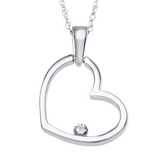10k White Gold Diamond Heart Necklace