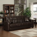 Portfolio Turco Convert-a-Couch Brown Renu Leather Futon Sofa Sleeper