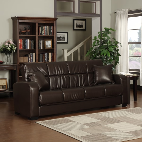 portfolio turco convert a couch brown renu leather futon sofa sleeper
