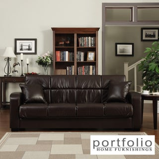 Portfolio Turco Convert-a-Couch� Black Renu Leather Futon Sofa Sleeper