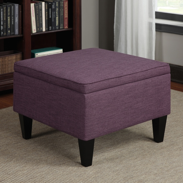 Portfolio Engle Amethyst Purple Linen Table Storage Ottoman
