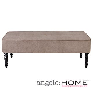 angelo:HOME Brighton Hill Parisian Tan-Gray Velvet Large Bench