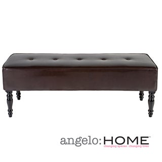 angelo:HOME Brighton Hill Coffee Brown Renu Leather Large Bench