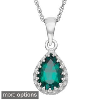 Tiara Collection Sterling Silver 9x6mm Pear-cut Gemstone Crown Necklace