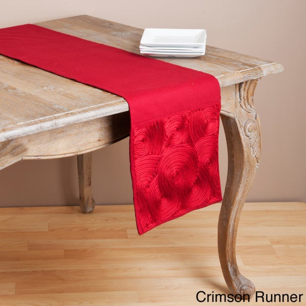 Embroidered Scroll Design Table Runner