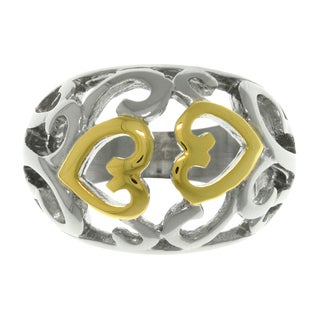 CGC Two-tone Steel Swirling Heart Ring