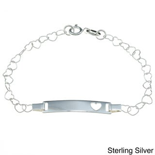 Sterling Essentials Sterling Silver Heart Chain Baby ID Bracelet