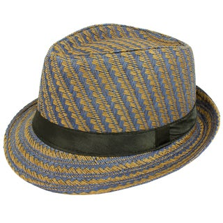 Faddism Men's Brown and Navy Patterned Fedora Hat