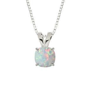 Sterling Silver Checkerboard Cushion-cut Lab-created Gemstone Necklace