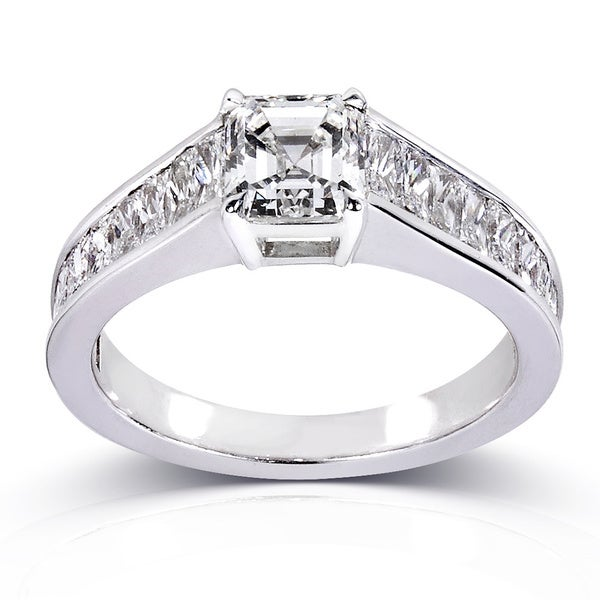 Annello Certified 14k White Gold 2 1/3ct TDW Asscher Cut Diamond Ring (H, SI1)