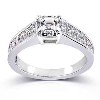 Annello Certified 14k White Gold 2 1/3ct TDW Asscher Cut Diamond Ring (H, SI1)