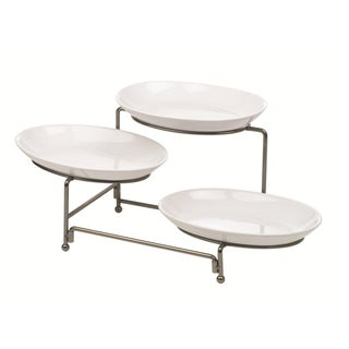 Anchor Hocking Ceramic Plate Wire Rack Serveware Set