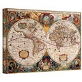 Art Wall Henricus Hondius 'A New and Accurate Map of the World' Gallery-wrapped Canvas