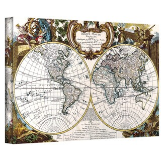 George Louis Le Rouge 'Double Hemisphere Map' Gallery-wrapped Canvas