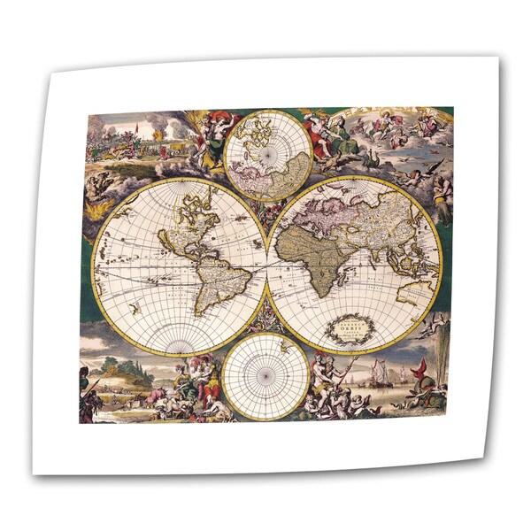 Frederick De Wit 'Double Hemisphere Polar Map' Unwrapped Canvas