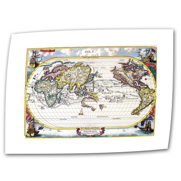Heinrich Shcerer 'Map of the World' Unwrapped Canvas