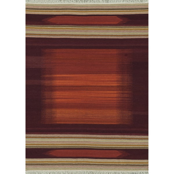 Zahra Hand Woven Red Wool Rug (5'0 x 7'6)